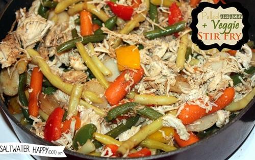 Pulled chicken veggie stir fry