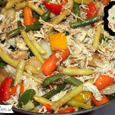 Pulled chicken veggie stir fry