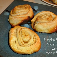 Pumpkin Spiced Sticky Buns with Maple Syrup