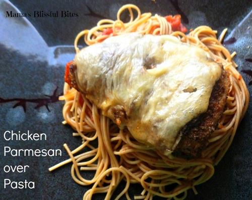 Chicken parmesan over pasta