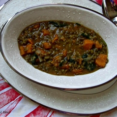 Mung bean, sweet potato and spinach soup