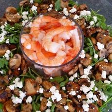 Arugula Caper Salad with Mushrooms & Shrimp