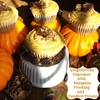 Gingerbread Cupcakes with Pumpkin Frosting and Candied Pecans