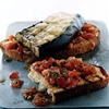 Eggplant and smoked-gouda open-faced grilled sandwich