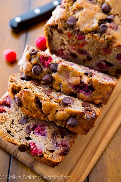Dark chocolate chip raspberry banana bread