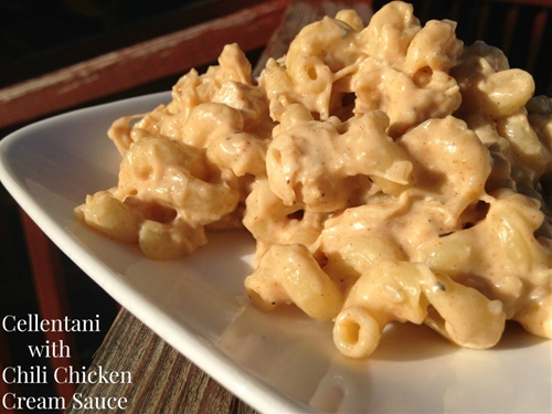 Cellentani with Chili Chicken Cream Sauce
