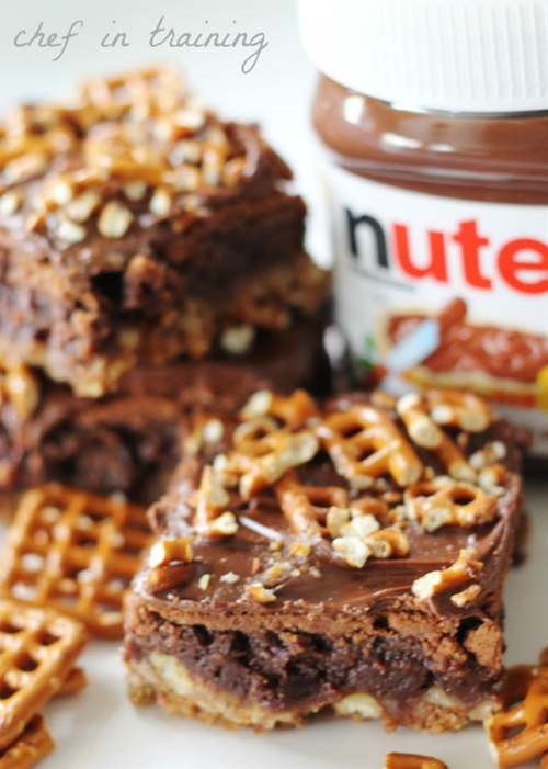 Nutella Pretzel Brownies