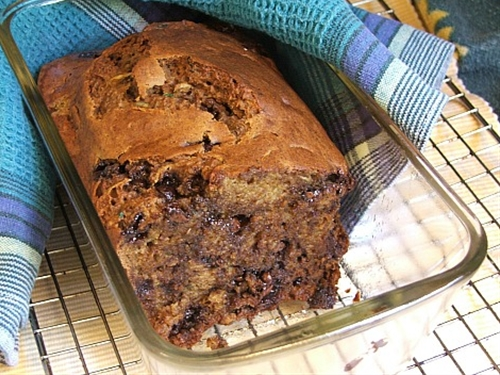 Moist Zucchini Bread with Banana and Chocolate