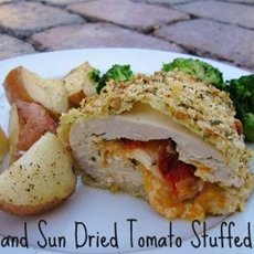 Cheddar and sun dried tomato stuffed chicken