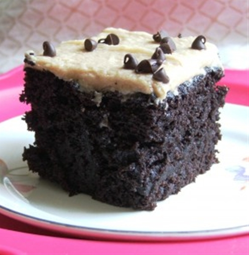 Wacky cake with peanut butter frosting