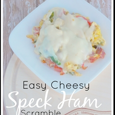 Easy Cheesy Speck Ham Scramble