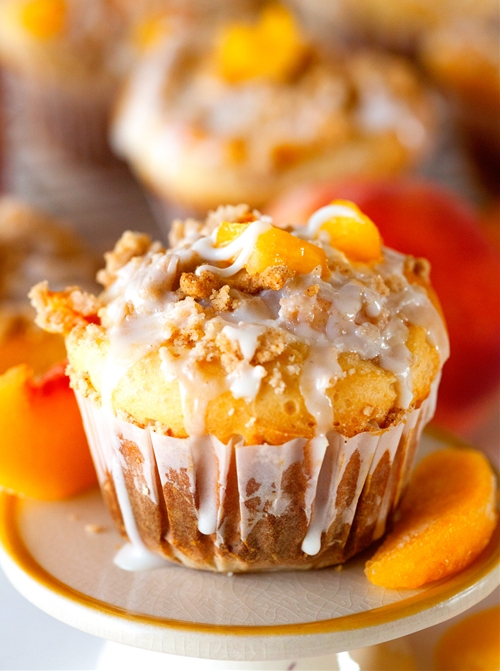 Glazed Sweet Roll Peach Crumble Muffins