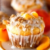 Glazed Sweet Roll Peach Crumble Muffins
