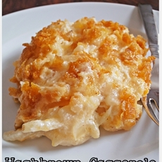 Cheesy Hashbrown Casserole with Corn Flake Topping