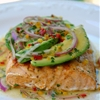 Grilled salmon with avocado salsa