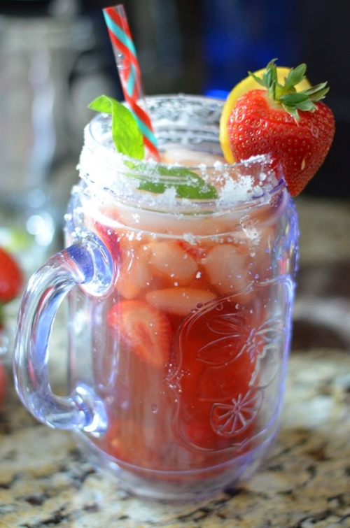 Sugared Strawberry Basil Lemon Tea