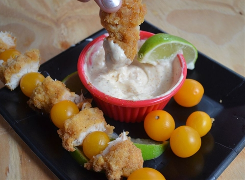 Chicken Dippers with Chili Lime Sauce