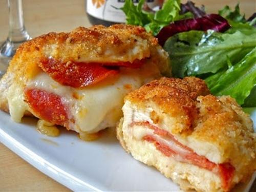 pepperoni and mozzarella stuffed chicken breasts
