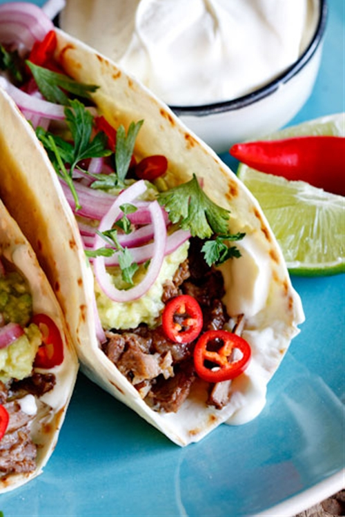 """Slow-braised Short Rib Tacos with """"quick-pickled"""" red onion"""