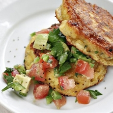 Summer Corn Cakes with Chopped Tomato and Avocado Salsa