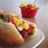 Hot Dogs with Mango Relish