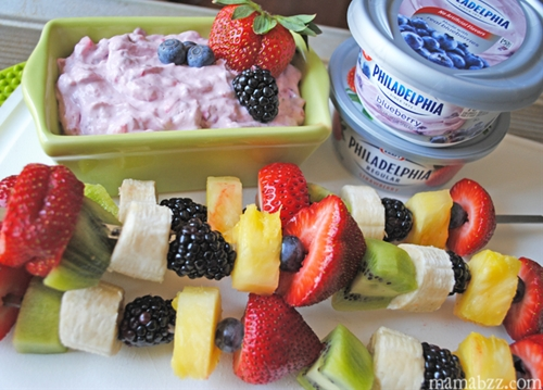 Fruit Kabobs with a Philly Cream Cheese Chunky Fruit Dip