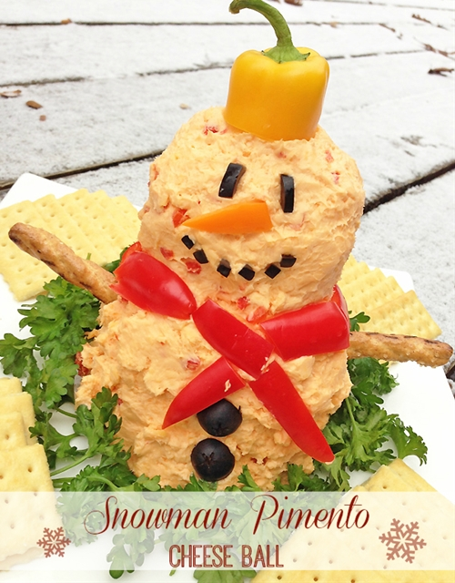 Snowman Pimento Cheese Ball