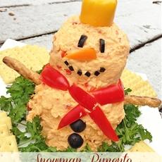 Snowman Pimento Cheese Ball