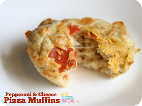 Pepperoni & Cheese Pizza Muffins