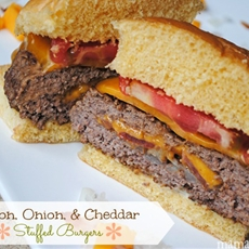 Bacon, Onion, and Cheddar Stuffed Burgers