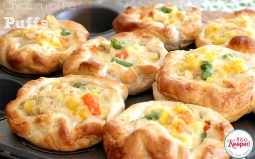 Chicken Pot Pie Puffs with #PillsburyBiscuits