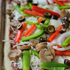 Thin Crust Veggie Pizza with Homemade Pizza Sauce