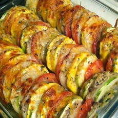 "Tomato, Potato, Zucchini, Summer Squash ""Casserole"" Recipe"