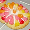 Starburst candy corn cookies on a stick