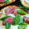 Steak and Fresh Mozzarella Naan Pizza