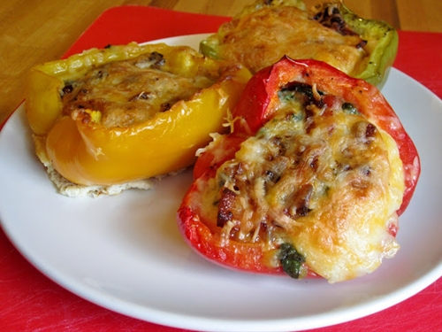 Easy stuffed breakfast peppers