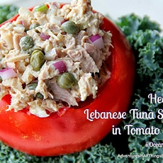 Healthy Lebanese Tuna Salad in Tomato Cups