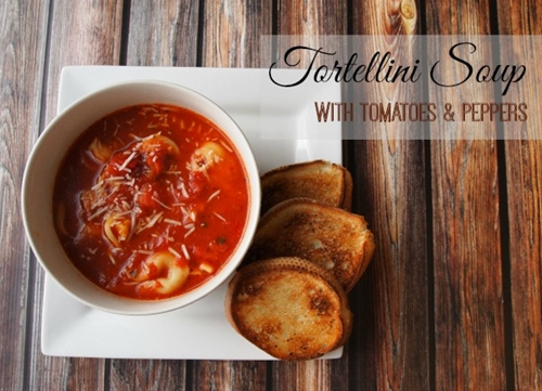 15 Minute Tortellini Soup with Tomato & Red Pepper