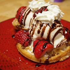 Deep Fried Waffles with Strawberries and Cream