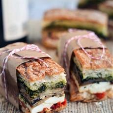 Eggplant, prosciutto, & pesto pressed picnic sandwich