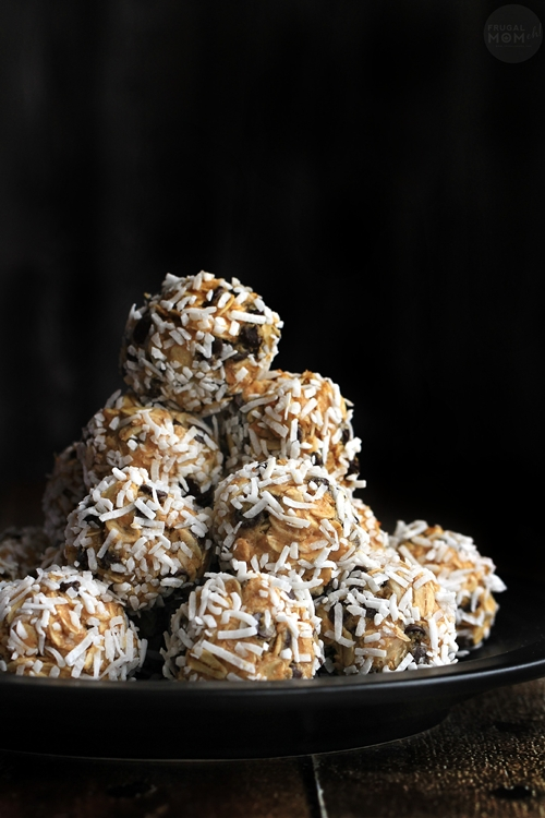 Coconut Covered Chia & Chocolate Chip Peanut Butter Snack Bites
