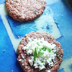 Feta-stuffed Green Onion Burgers