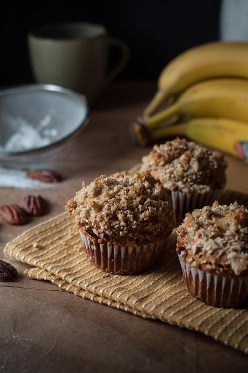 Peanut Banana Muffins with Pecan Streusel