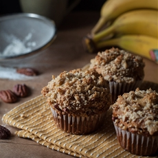Peanut Banana Muffins with Pecan Streusel