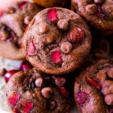 Skinny Chocolate Cherry Muffins