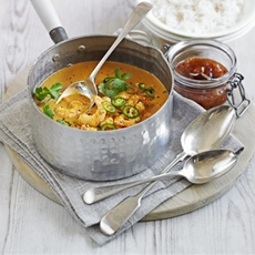 Quick prawn, coconut & tomato curry