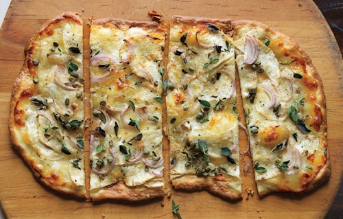 Pizza Bianca with Scamorza and Shaved Celery Root