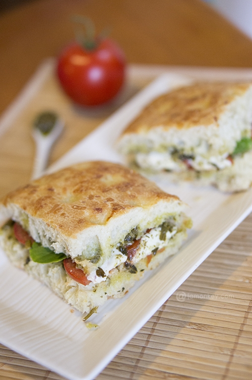 Roasted tomato and mozzarella panini