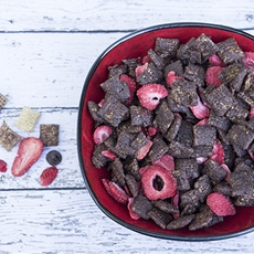 Dark chocolate strawberry chex® party mix