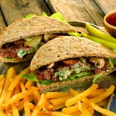 Grilled Bleu Cheese Burger on Multi-Grain Flatbread